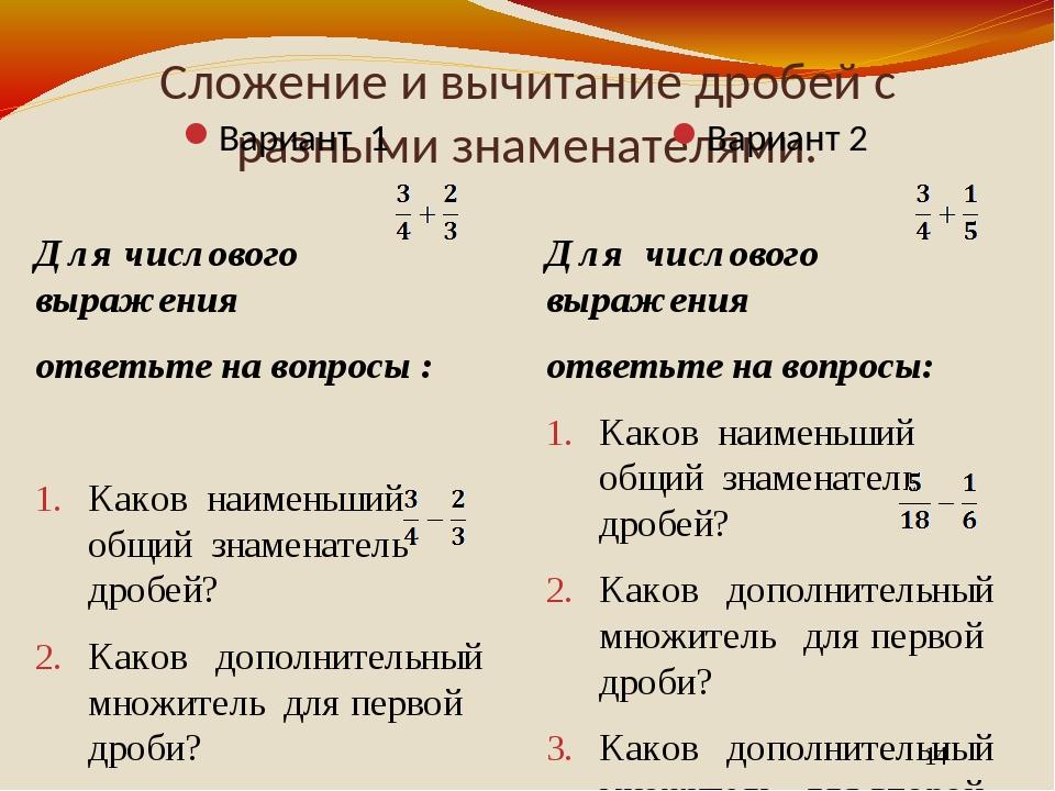 Сложение и вычитание дробей с разными знаменателями. Вариант 1 Вариант 2 Для...