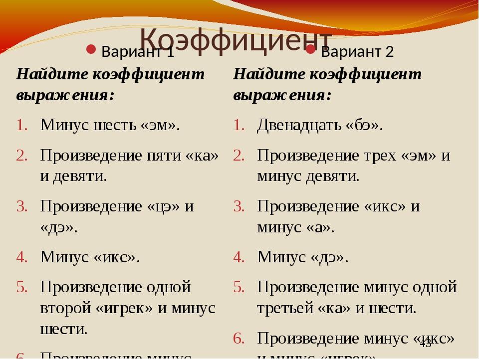 Коэффициент Вариант 1 Вариант 2 Найдите коэффициент выражения: Минус шесть «э...