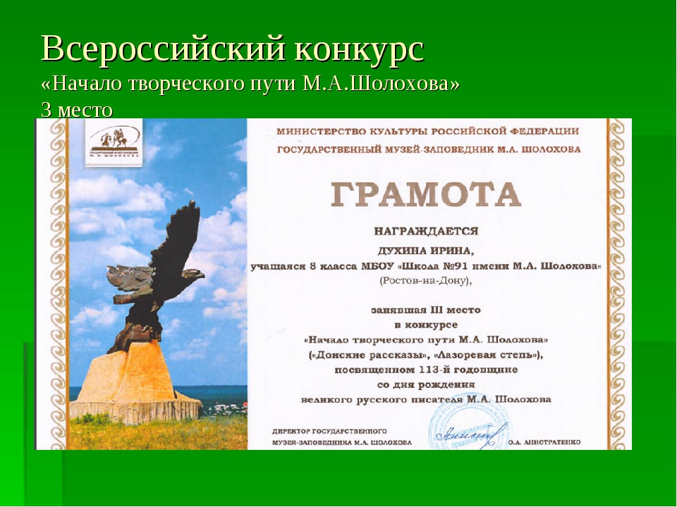 Всероссийский конкурс «Начало творческого пути М.А.Шолохова» 3 место