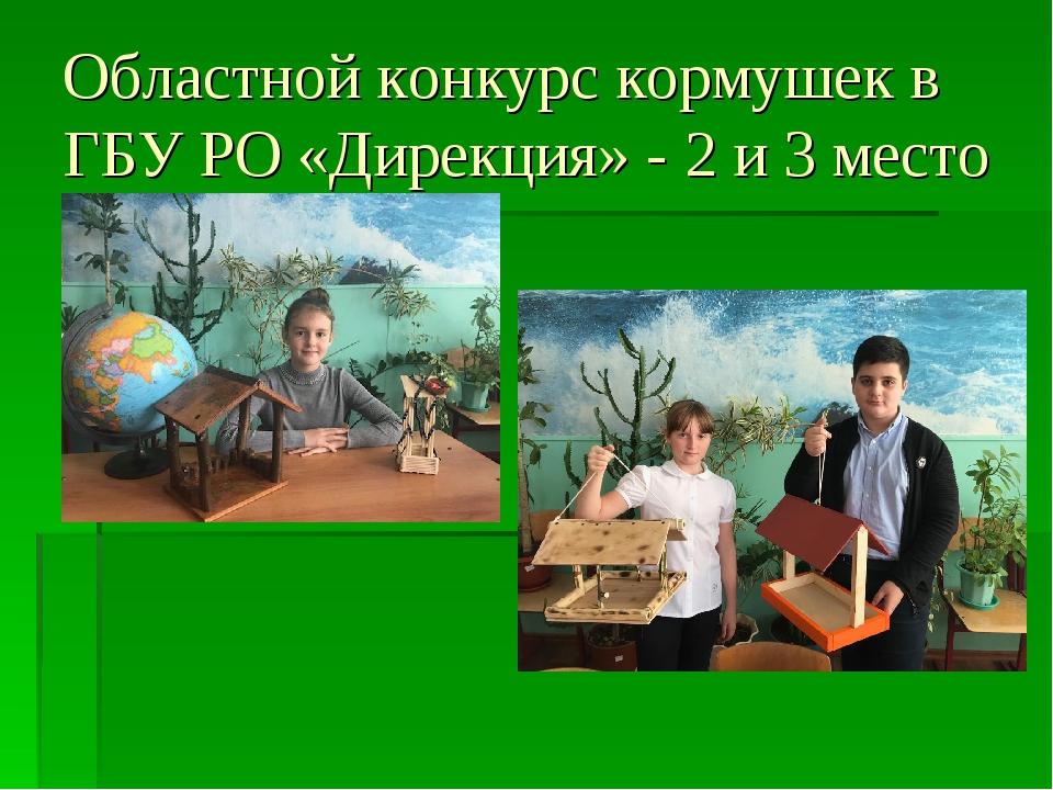 Областной конкурс кормушек в ГБУ РО «Дирекция» - 2 и 3 место