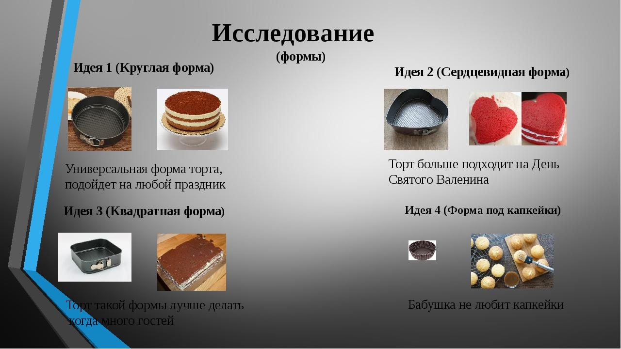Исследование (формы) Идея 1 (Круглая форма) Универсальная форма торта, подойд...