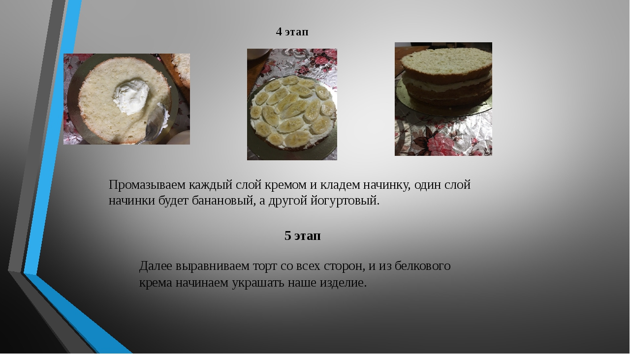 4 этап Промазываем каждый слой кремом и кладем начинку, один слой начинки буд...