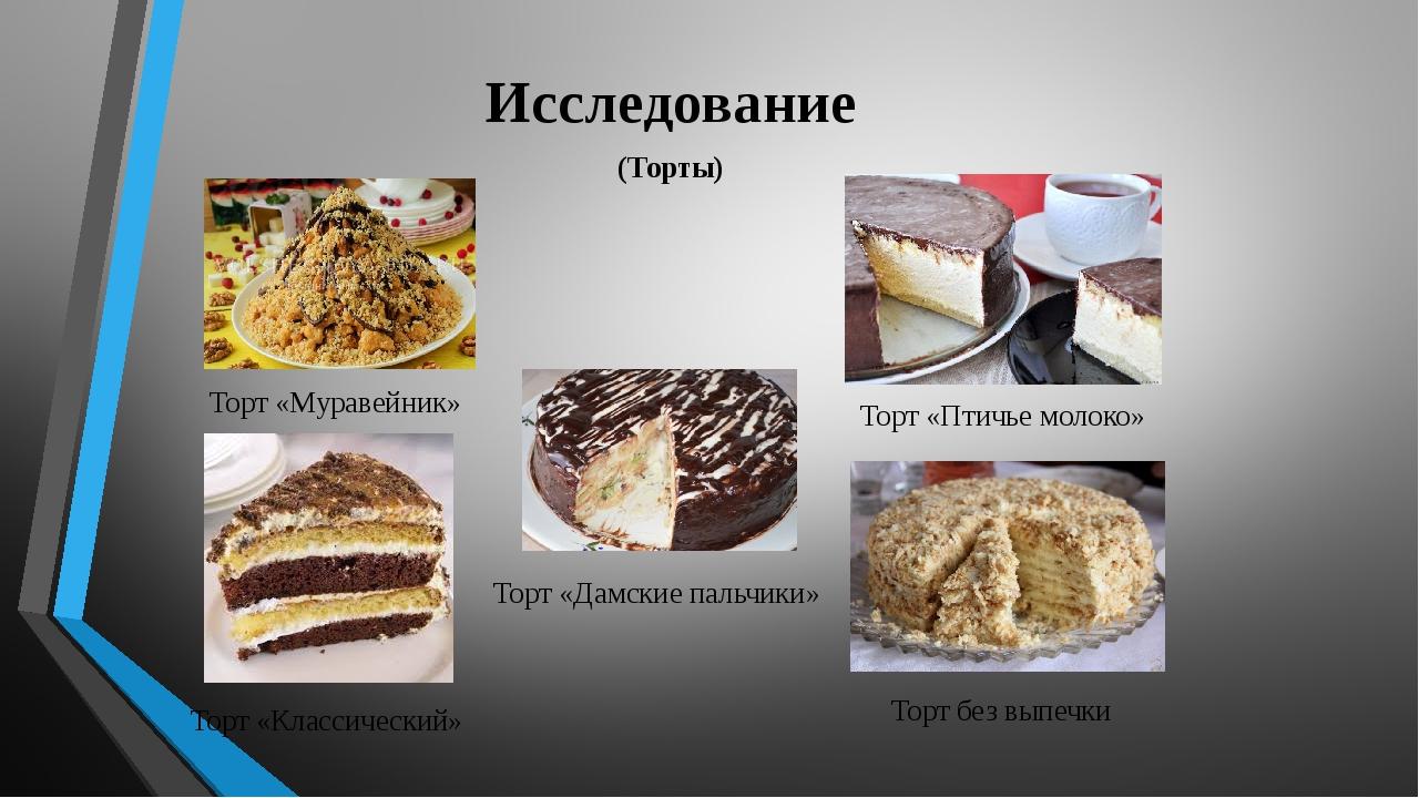 Исследование (Торты) Торт «Муравейник» Торт «Птичье молоко» Торт «Классически...