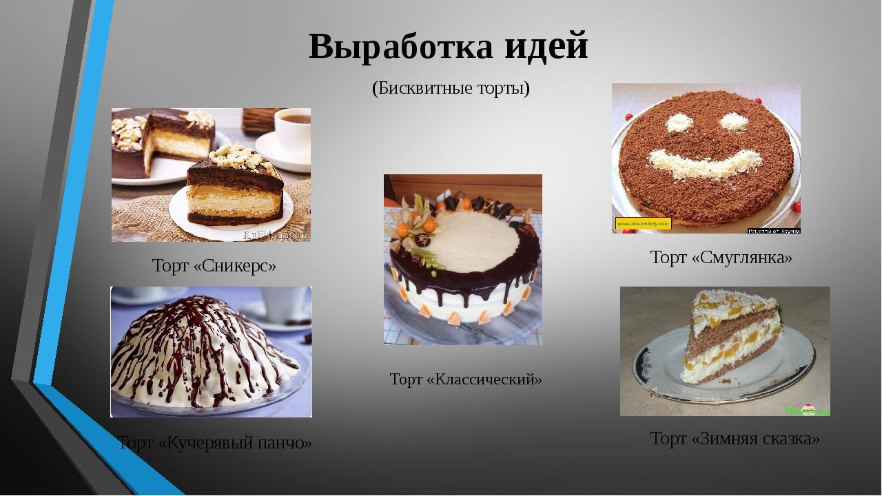 Выработка идей (Бисквитные торты) Торт «Сникерс» Торт «Смуглянка» Торт «Кучер...