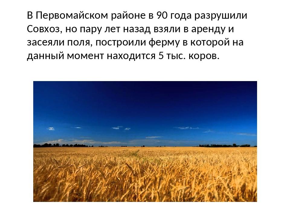 В Первомайском районе в 90 года разрушили Совхоз, но пару лет назад взяли в а...