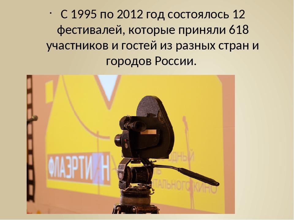 С 1995 по 2012 год состоялось 12 фестивалей, которые приняли 618 участников и...