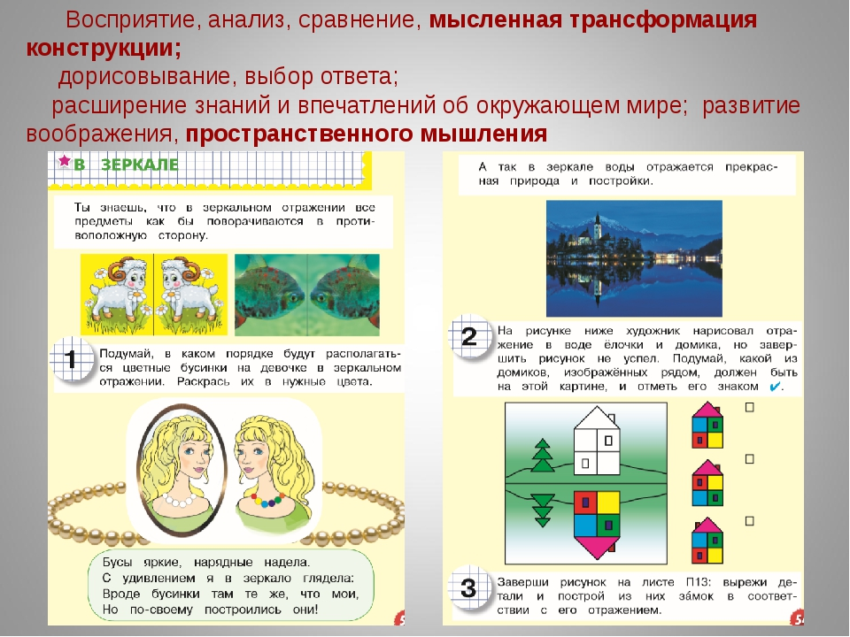 Восприятие, анализ, сравнение, мысленная трансформация конструкции; дорисовыв...