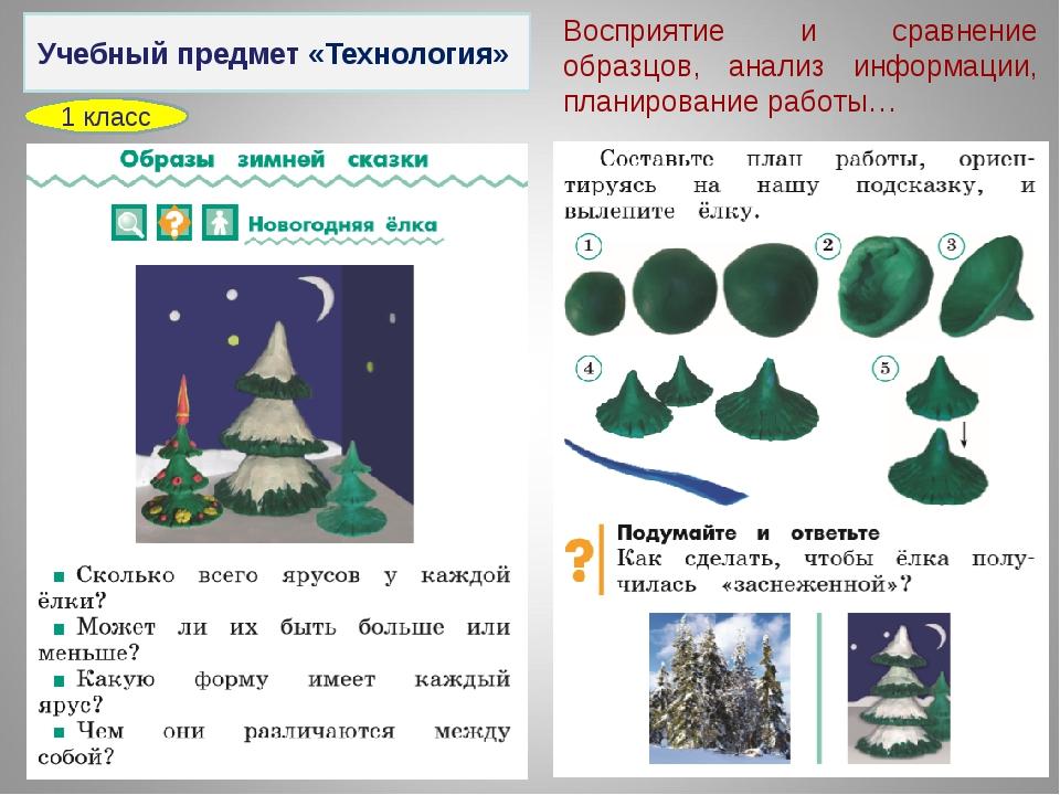 Учебный предмет «Технология» 1 класс Восприятие и сравнение образцов, анализ...