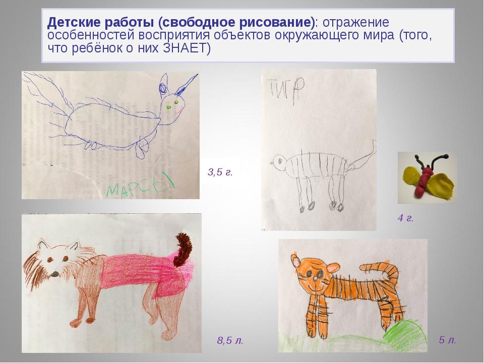 Детские работы (свободное рисование): отражение особенностей восприятия объек...