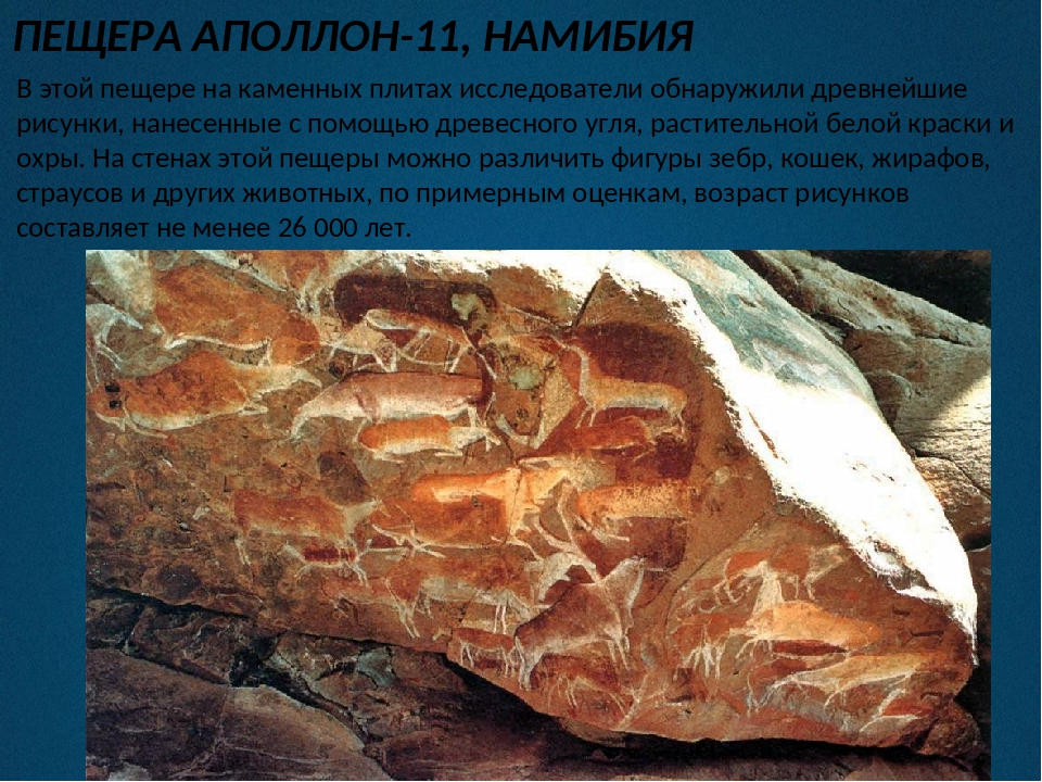 ПЕЩЕРА АПОЛЛОН-11, НАМИБИЯ В этой пещере на каменных плитах исследователи обн...