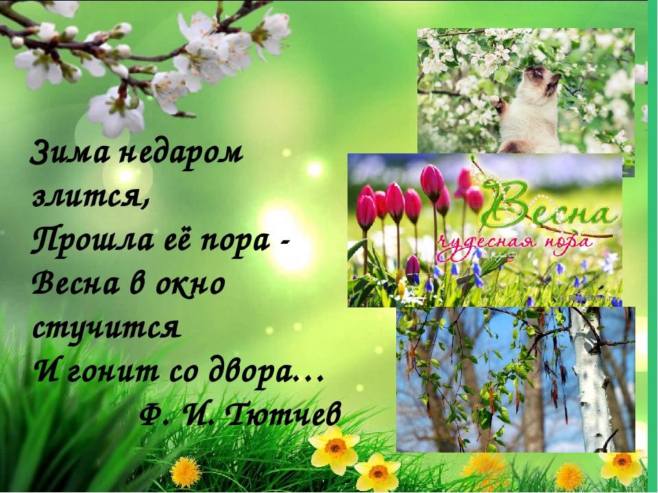 Зима недаром злится, Прошла её пора - Весна в окно стучится И гонит со двора...