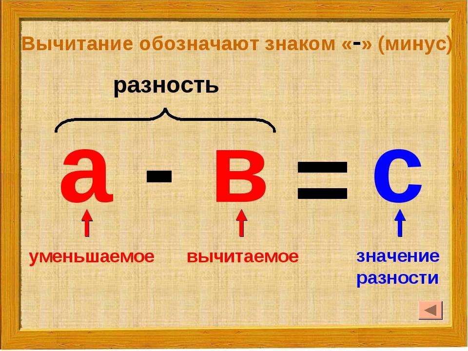 Вычитание обозначают знаком «-» (минус) а в = с - уменьшаемое вычитаемое знач...