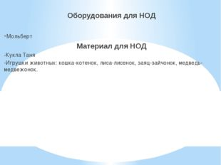 Оборудования для НОД -Мольберт Материал для НОД -Кукла Таня -Игрушки животны