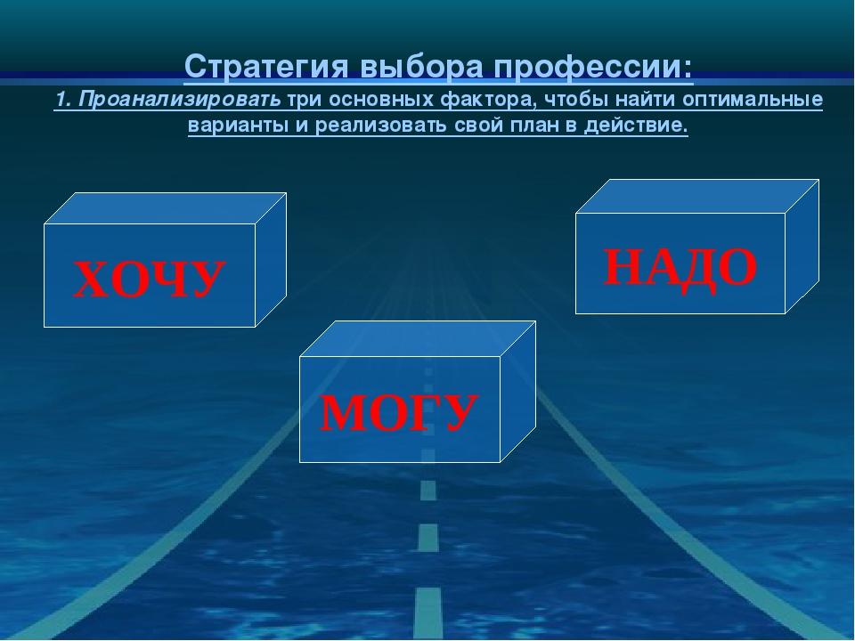 Стратегия выбора профессии: 1.Проанализировать три основных фактора, чтобы н...