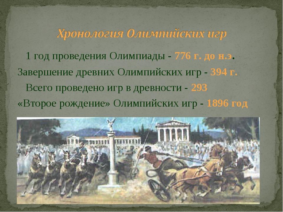 1 год проведения Олимпиады - 776 г. до н.э. Завершение древних Олимпийских и...