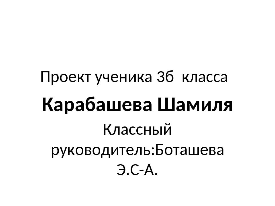 Проект ученика 3б класса Классный руководитель:Боташева Э.С-А. Карабашева Шам...
