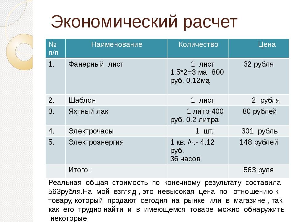 Экономический расчет готового изделия Реальная общая стоимость по конечному р...