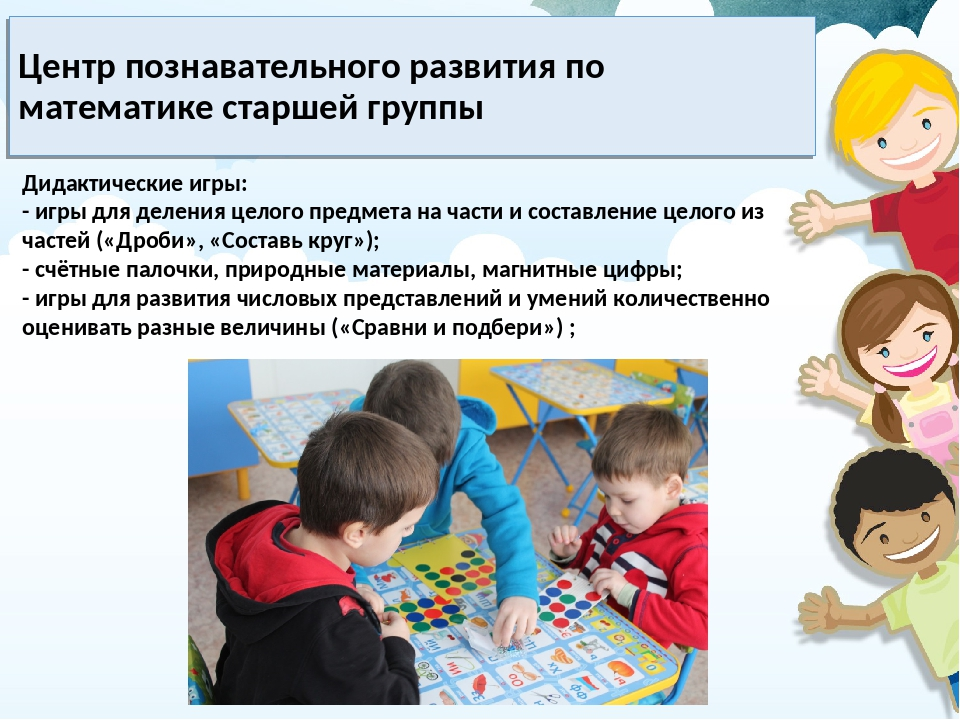 Центр познавательного развития по математике старшей группы Дидактические игр...