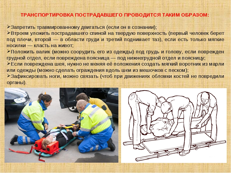 ТРАНСПОРТИРОВКА ПОСТРАДАВШЕГО ПРОВОДИТСЯ ТАКИМ ОБРАЗОМ: Запретить травмирован...