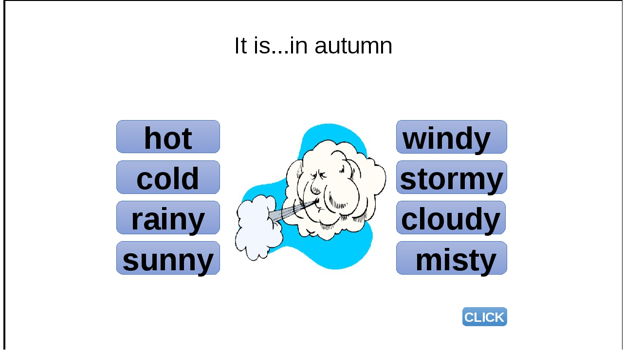 hot cold rainy sunny windy stormy cloudy misty CLICK It is...in autumn