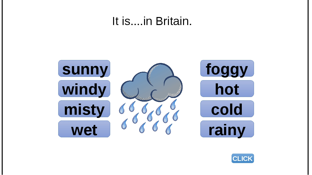 sunny windy misty wet foggy hot cold rainy CLICK It is....in Britain.