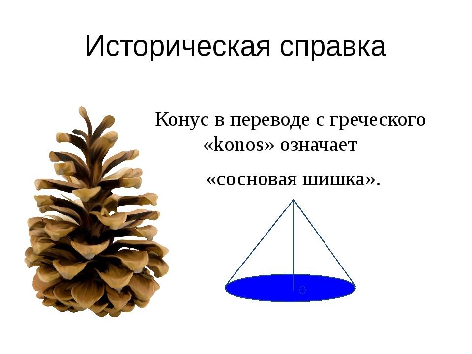 Конус в переводе с греческого «konos» означает «сосновая шишка». Историческа...