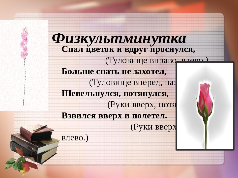 Физкультминутка Спал цветок и вдруг проснулся, (Туловище вправо, влево.) Бо...