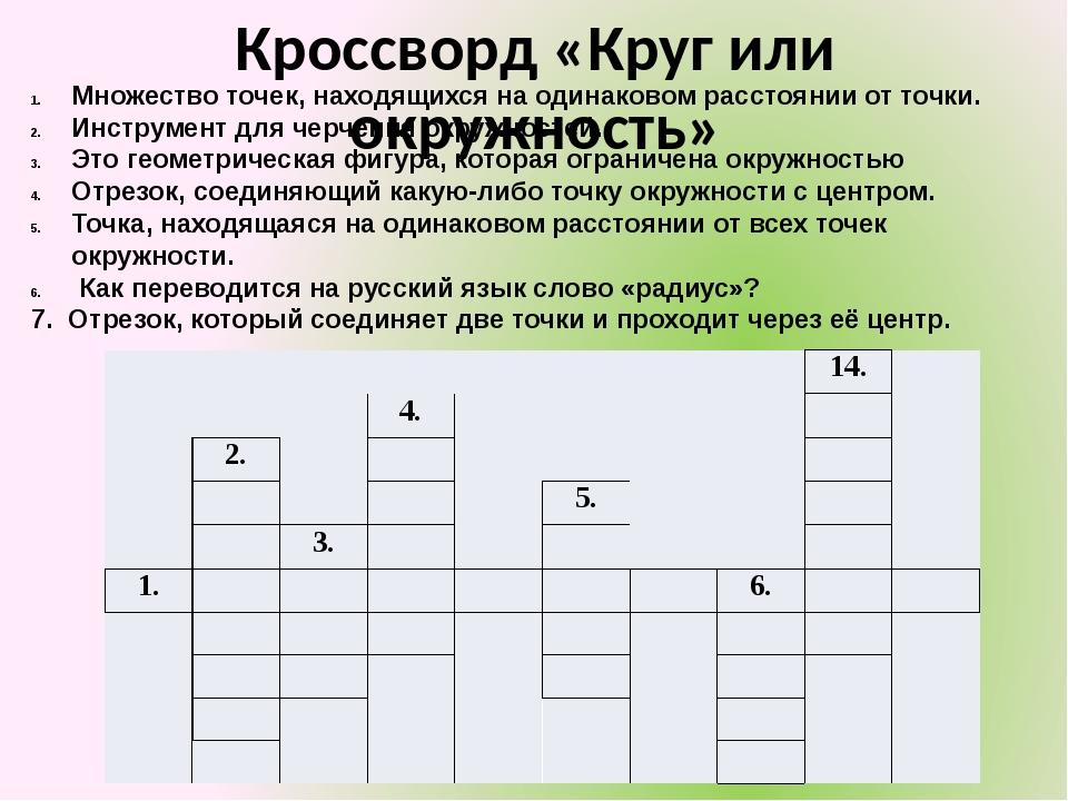 Кроссворд «Круг или окружность» Множество точек, находящихся на одинаковом ра...