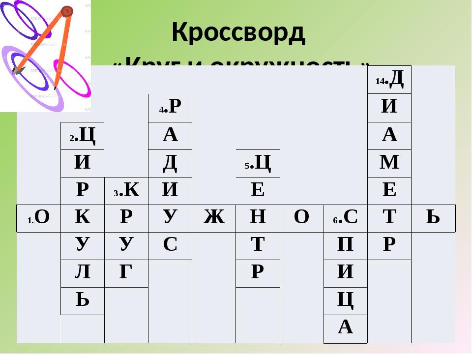 Кроссворд «Круг и окружность» 14.Д 4.Р И 2.Ц А А И Д 5.Ц М Р 3.К И Е Е 1.О К...