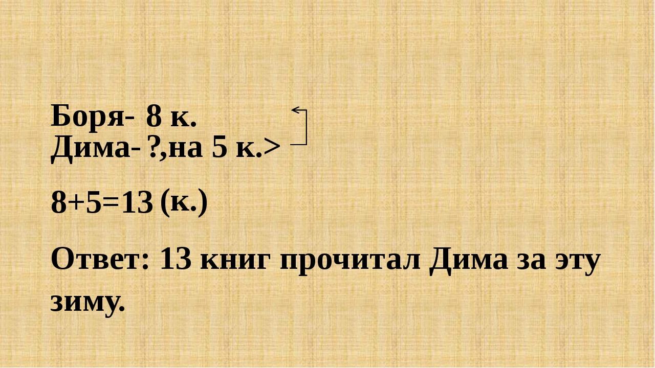 Боря- Дима- 8 к. ? ,на 5 к.> 8+5=13 (к.) Ответ: 13 книг прочитал Дима за эту...