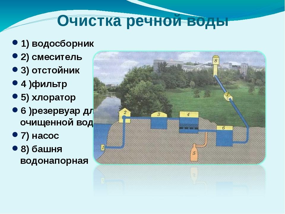 Очистка речной воды 1) водосборник 2) смеситель 3) отстойник 4 )фильтр 5) хло...