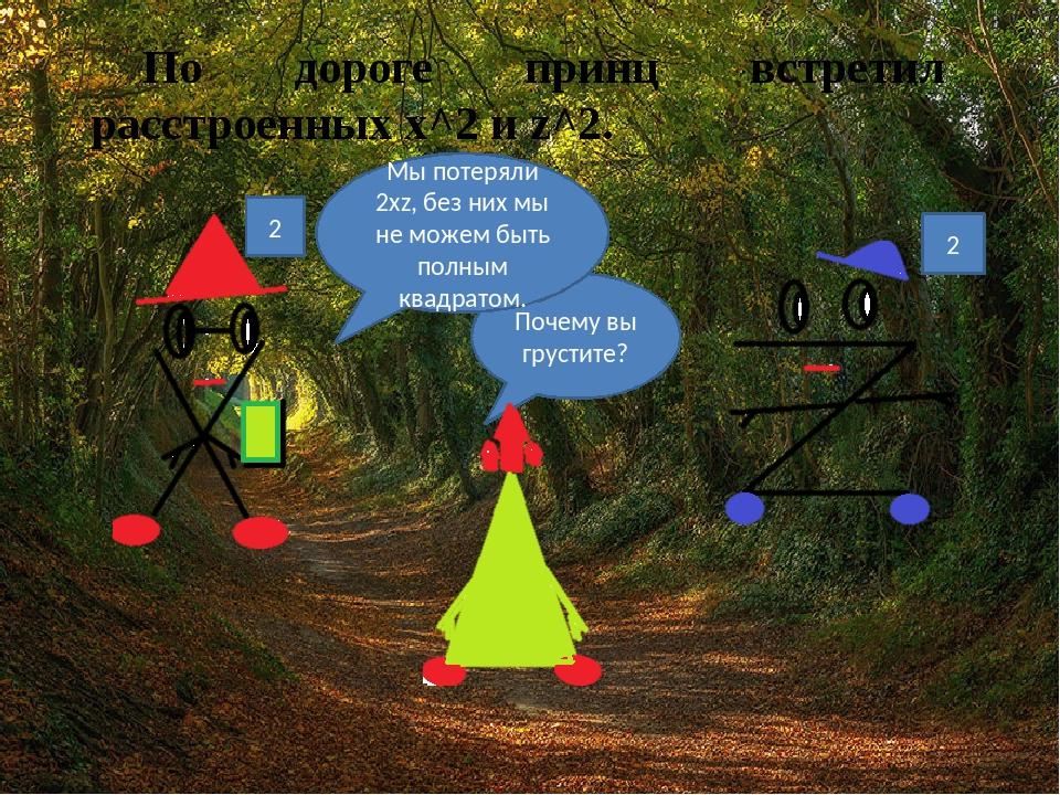По дороге принц встретил расстроенных х^2 и z^2. Почему вы грустите? Мы поте...