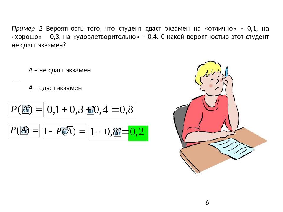 Пример 2 Вероятность того, что студент сдаст экзамен на «отлично» – 0,1, на...