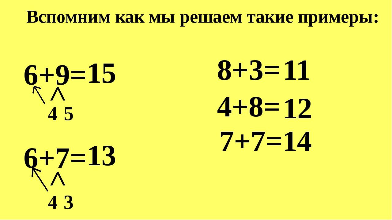 Вспомним как мы решаем такие примеры: 6+9=