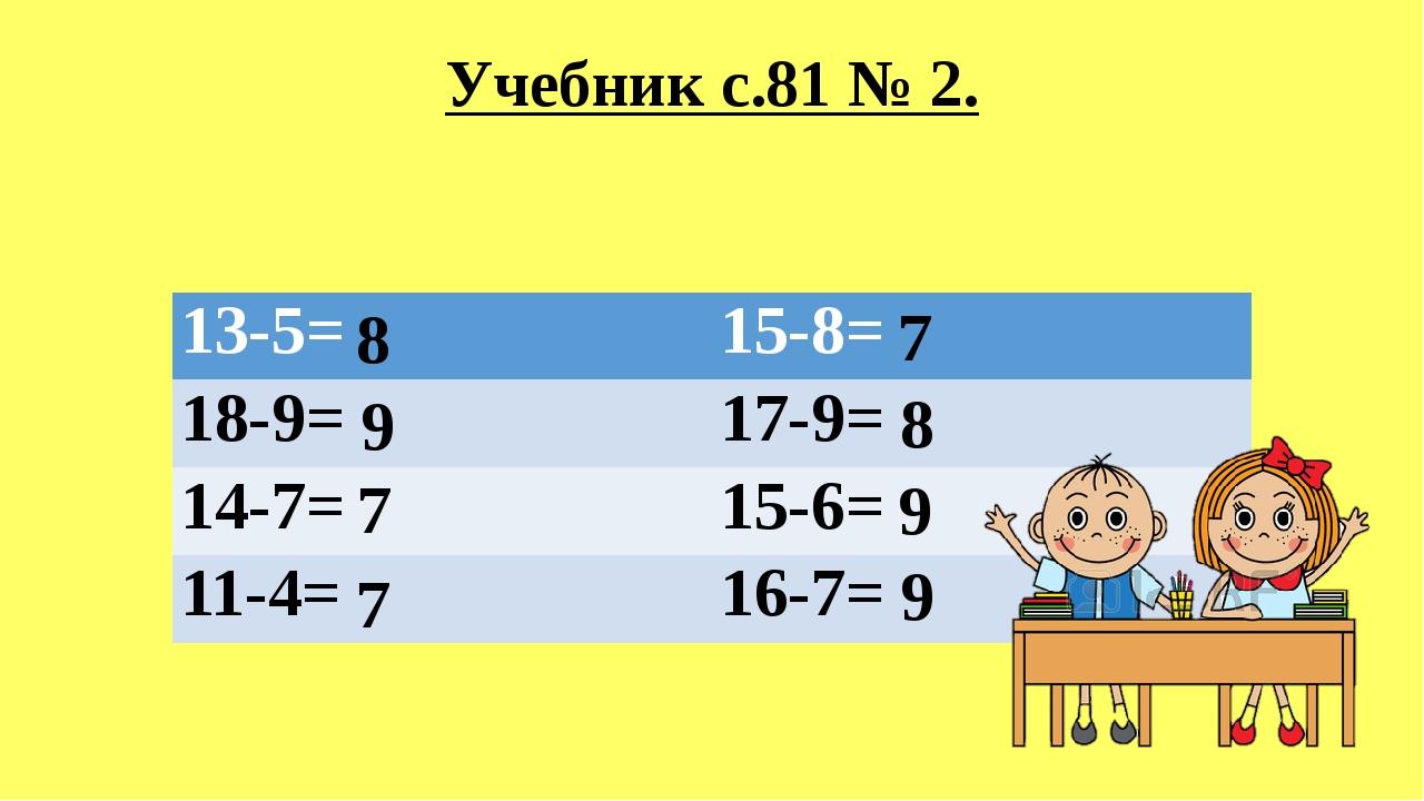 Учебник с.81 № 2. 8 8 9 9 9 7 7 7 13-5= 15-8= 18-9= 17-9= 14-7= 15-6= 11-4= 1...