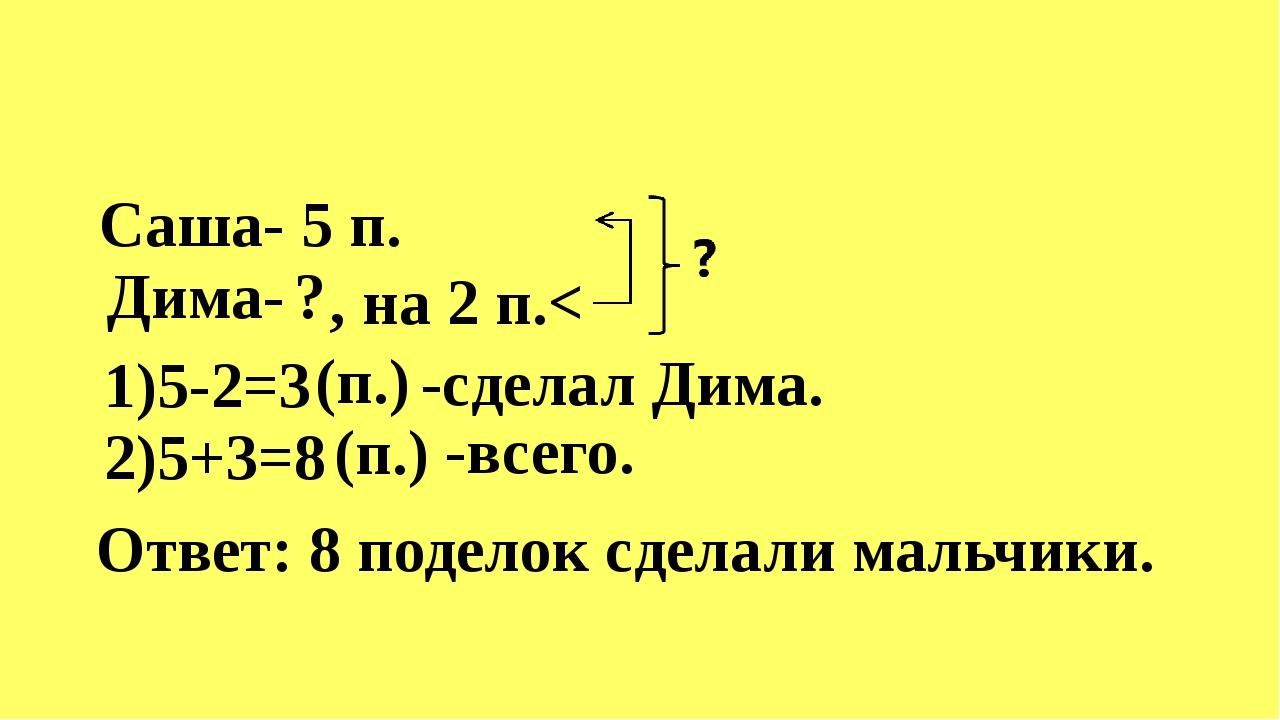 Саша- Дима- 5 п. ? , на 2 п.< 1)5-2=3 (п.) -сделал Дима. 2)5+3=8 (п.) -всего...