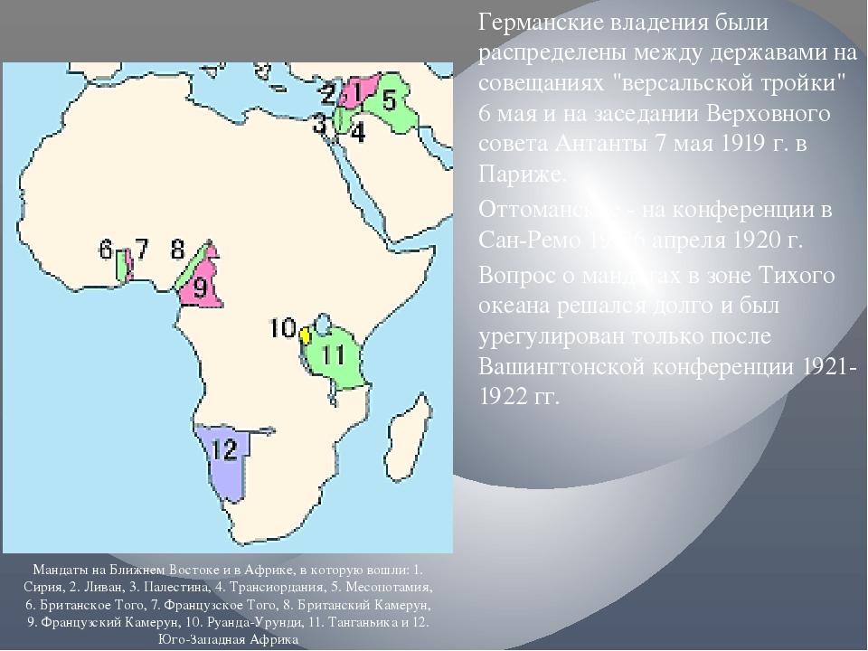 """Германские владения были распределены между державами на совещаниях """"версальс..."""