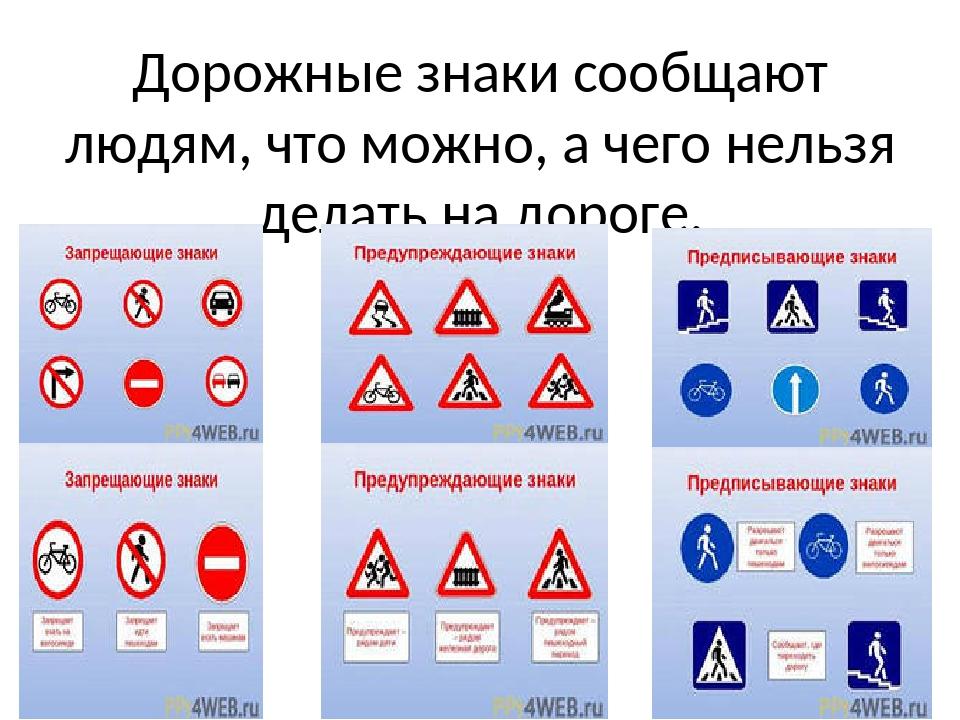 Дорожные знаки сообщают людям, что можно, а чего нельзя делать на дороге.