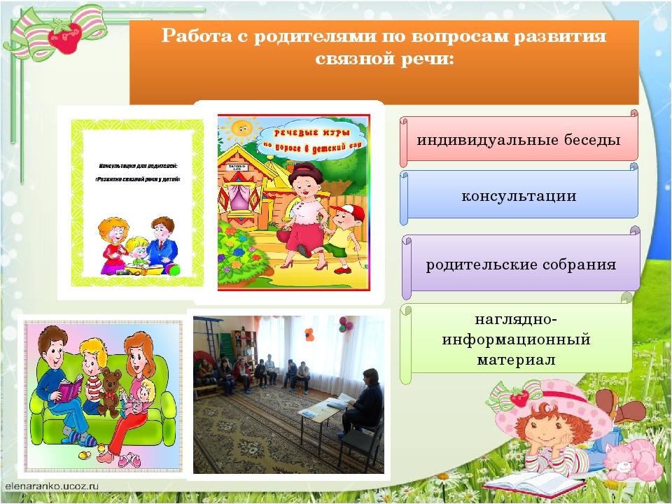 Работа с родителями по вопросам развития связной речи: консультации индивидуа...