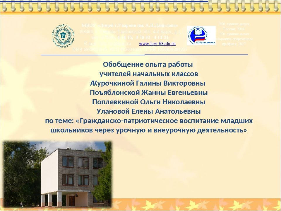 Обобщение опыта работы учителей начальных классов Курочкиной Галины Викторов...
