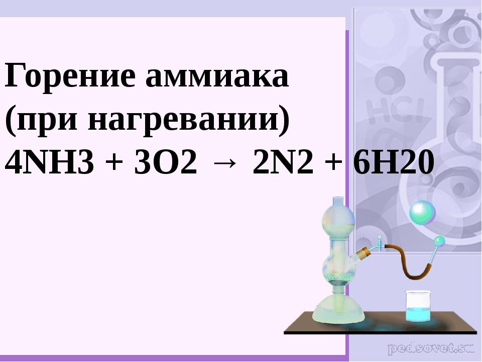 Горение аммиака (при нагревании) 4NH3+ 3O2→ 2N2+ 6H20