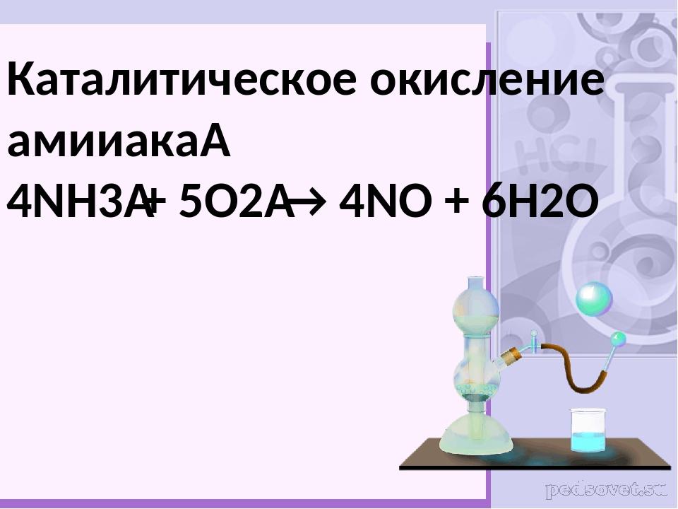 Каталитическое окисление амииака 4NH3+ 5O2→ 4NO + 6H2O