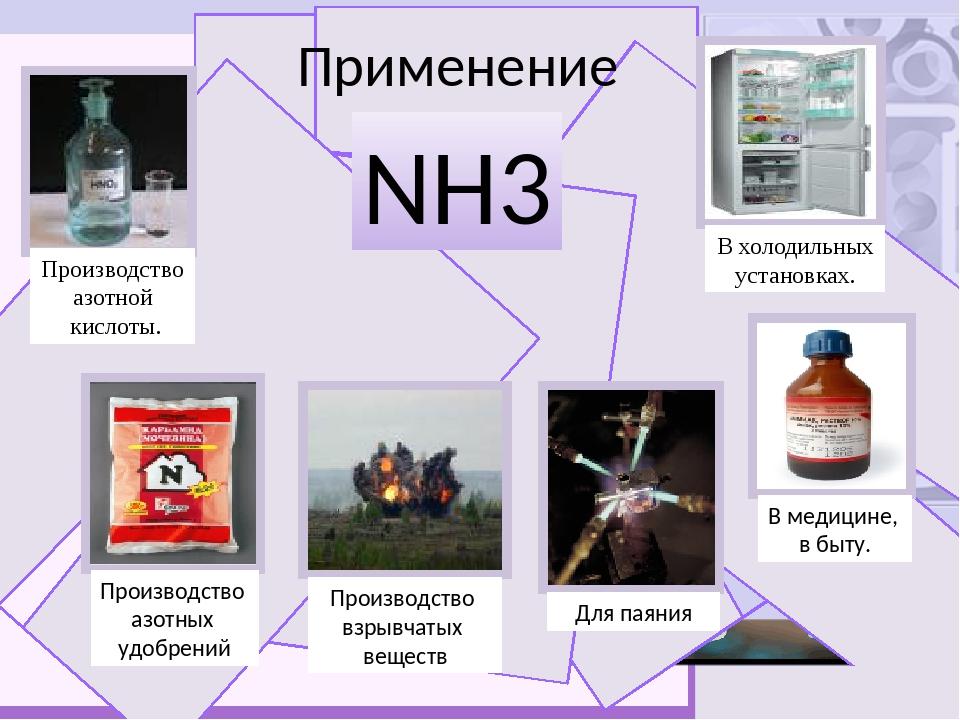 Применение NH3 Производство азотной кислоты. Производство азотных удобрений...