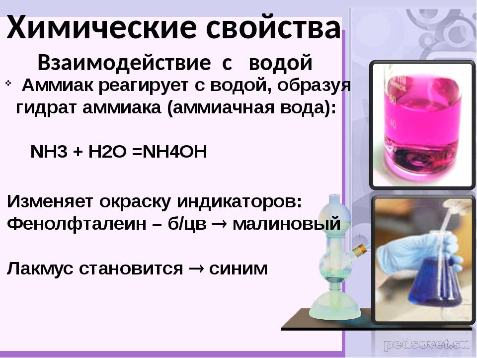 Аммиак реагирует с водой, образуя гидрат аммиака (аммиачная вода): NH3 + H2O...