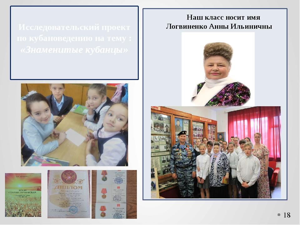 Исследовательский проект по кубановедению на тему : «Знаменитые кубанцы» Наш...