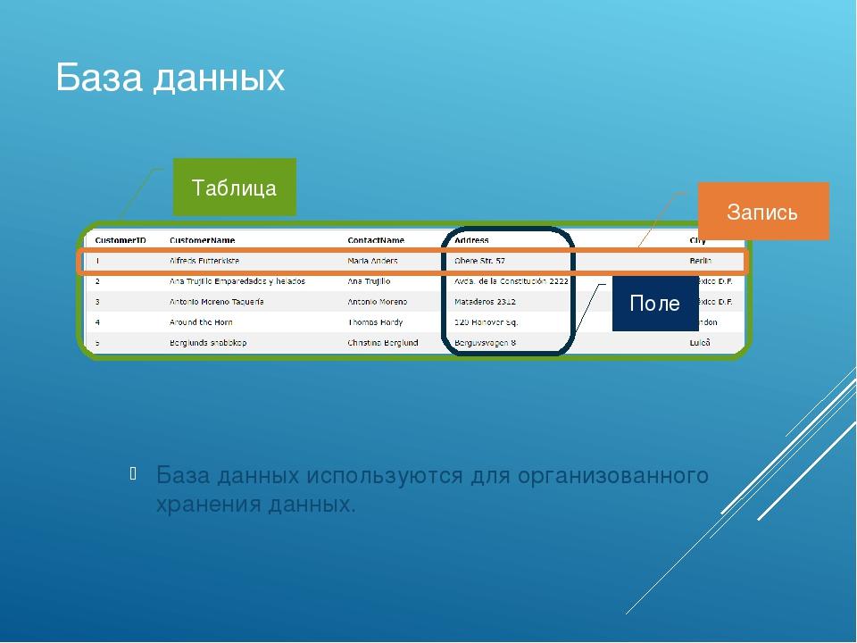База данных База данных используютсядля организованного храненияданных. Таб...