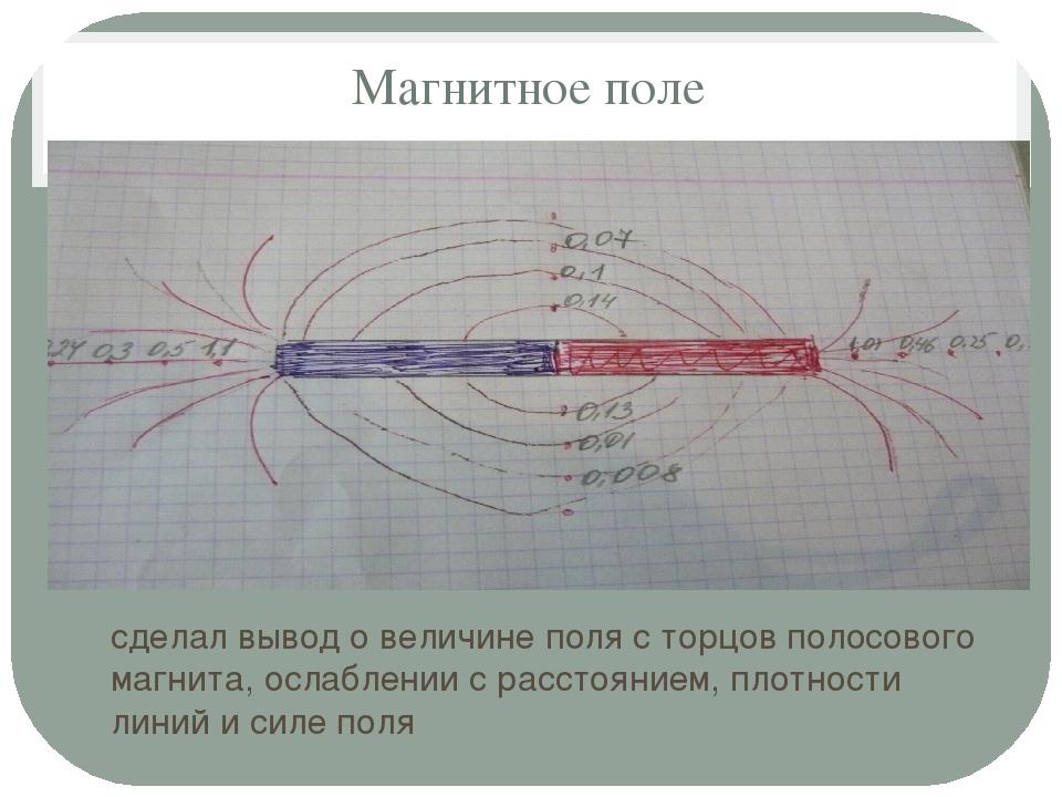 Магнитное поле сделал вывод о величине поля с торцов полосового магнита, осла...