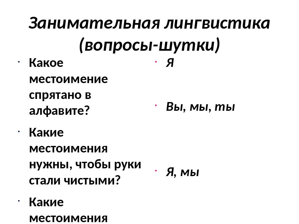 Занимательная лингвистика (вопросы-шутки) Какое местоимение спрятано в алфави...