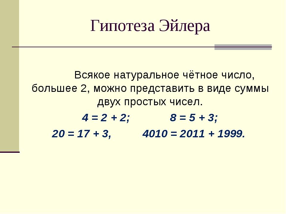 Гипотеза Эйлера  Всякое натуральное чётное число, большее 2, можно представ...