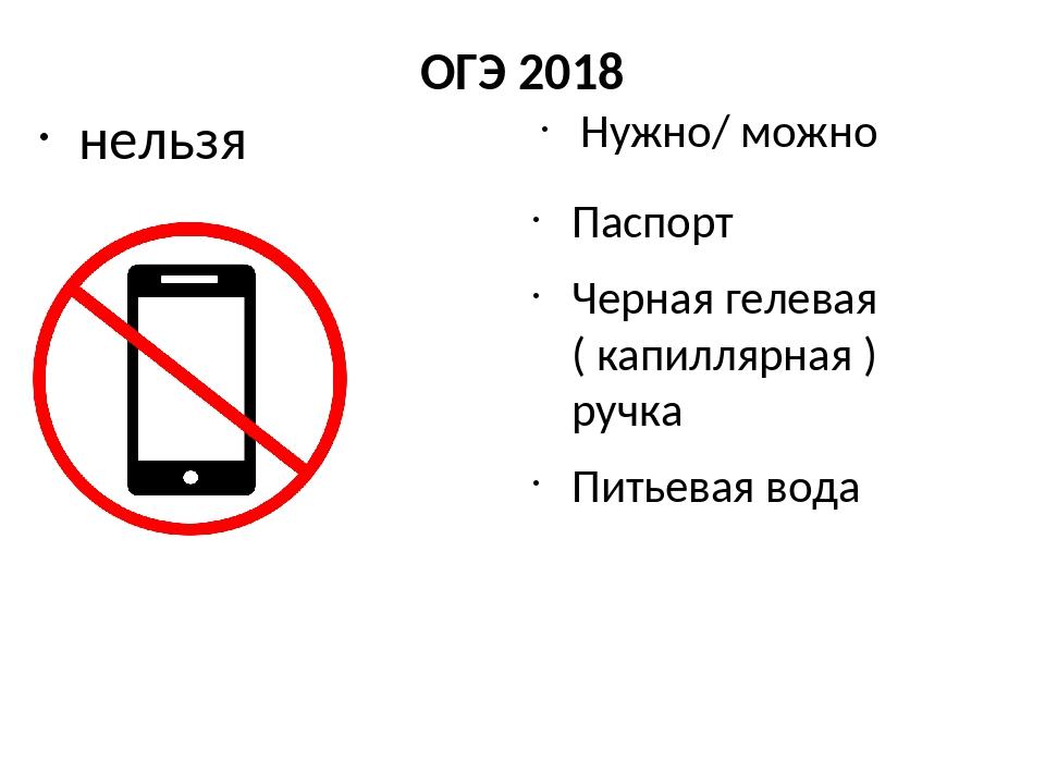 ОГЭ 2018 нельзя Нужно/ можно Паспорт Черная гелевая ( капиллярная ) ручка Пит...